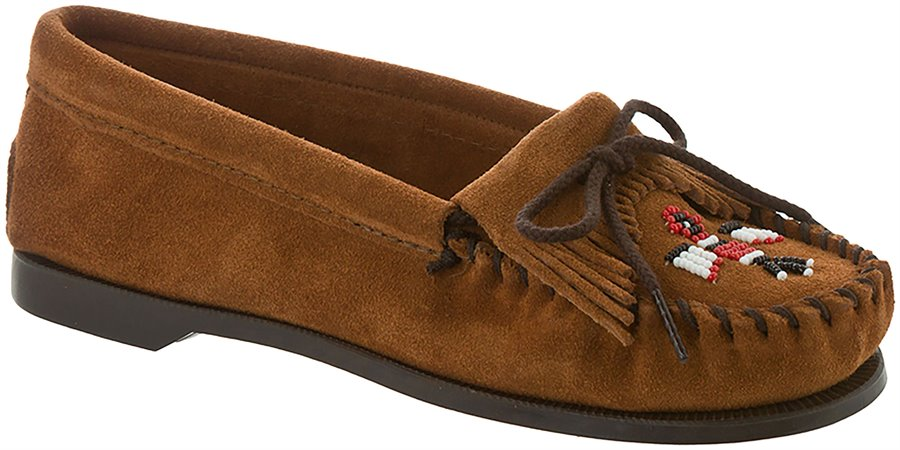 Retro Vintage Flats and Low Heel Shoes Minnetonka Womens Shoes - Thunderbird Suede Boat Sole in Brown $44.95 AT vintagedancer.com