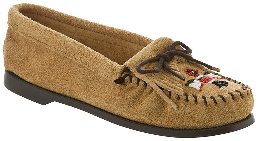 Retro Vintage Flats and Low Heel Shoes Minnetonka Womens Shoes - Thunderbird Suede Boat Sole in Tan $44.95 AT vintagedancer.com