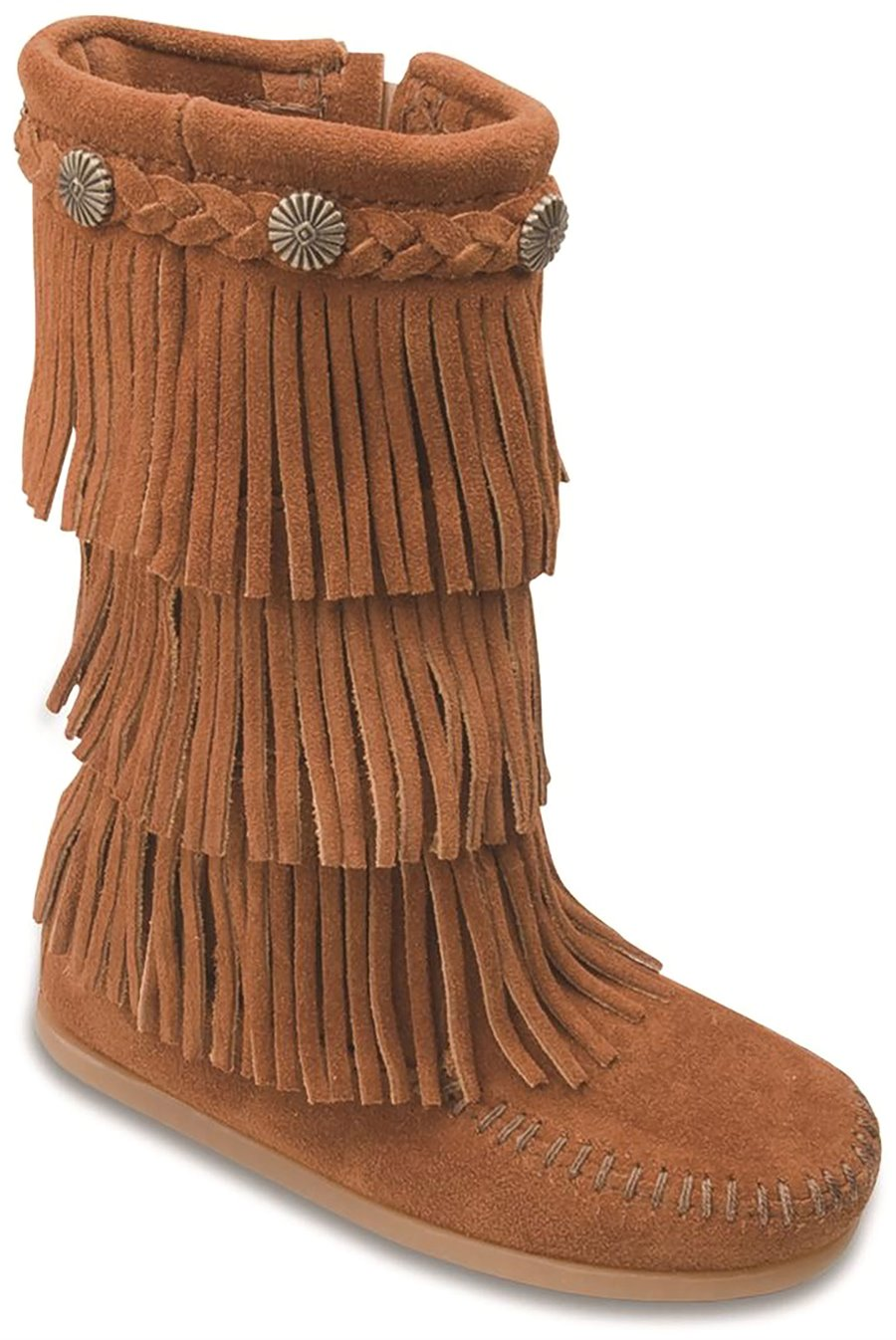 60s 70s Kids Costumes & Clothing Girls & Boys Minnetonka Childrens Shoes - 3 Layer Fringe Boot in Brown $73.95 AT vintagedancer.com