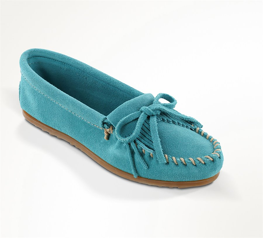 Retro Vintage Flats and Low Heel Shoes Minnetonka Womens Shoes - Kilty Hardsole in Turquoise $44.95 AT vintagedancer.com