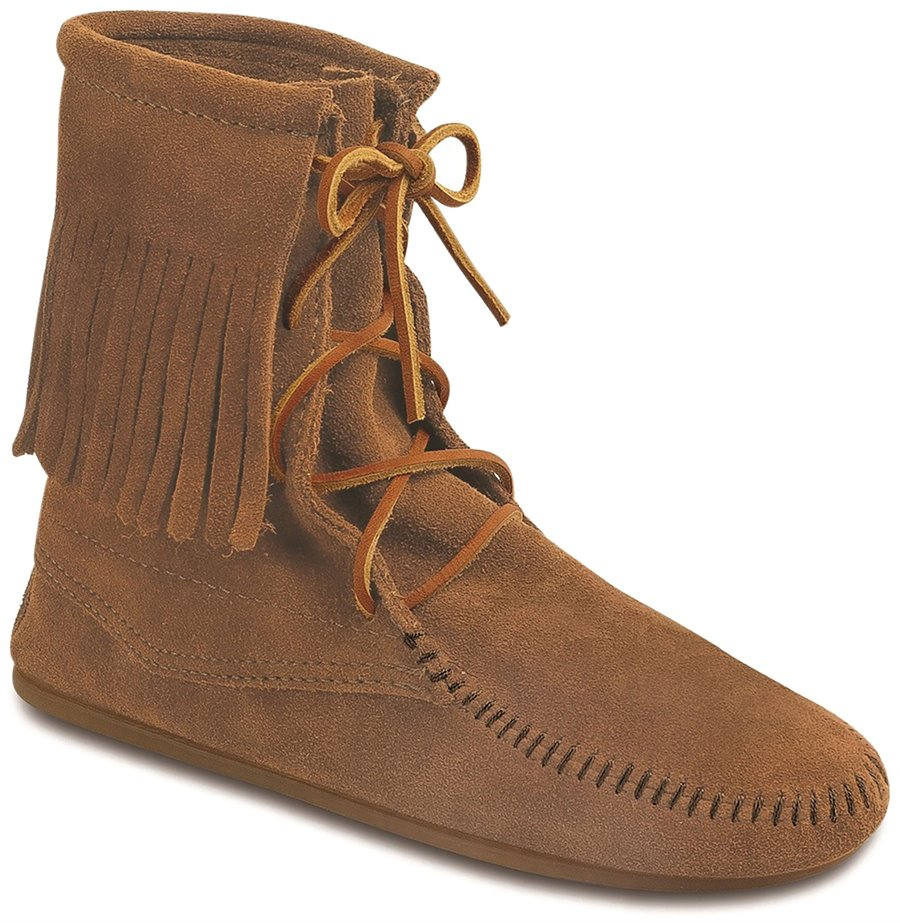 Vintage Boots- Buy Winter Retro Boots Minnetonka Womens Shoes - Tramper Ankle Hi Boot in Taupe $62.95 AT vintagedancer.com