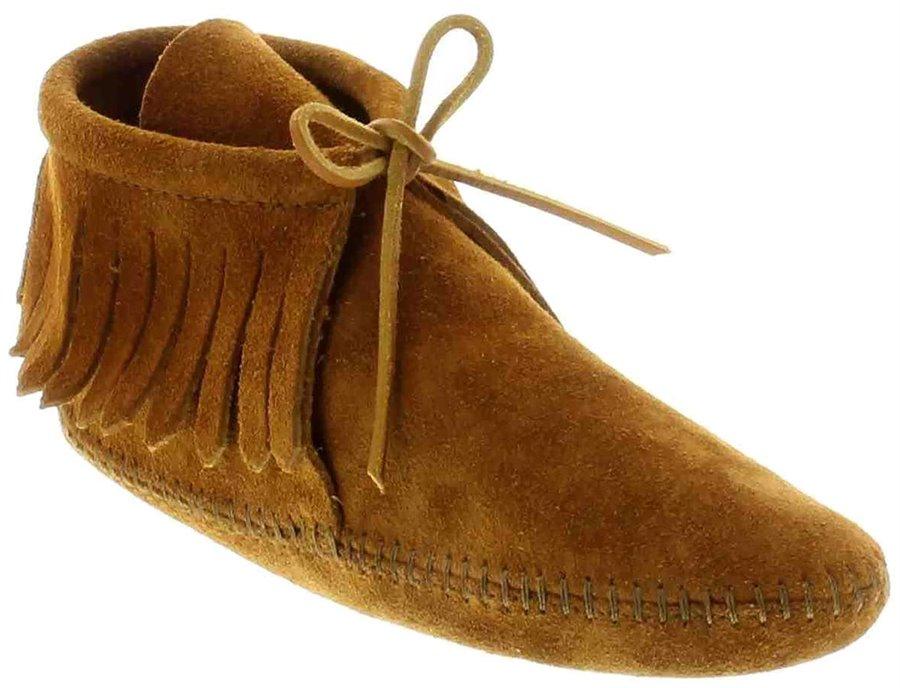 Mens Vintage Style Shoes & Boots| Retro Classic Shoes Minnetonka Mens Shoes - Classic Fringe Boot in Soft Sole Brown $47.95 AT vintagedancer.com