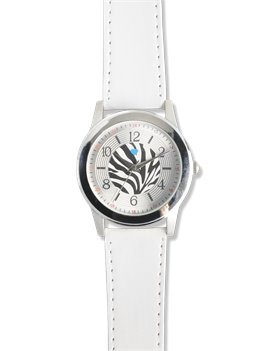 White Nurse Mates Zebra Print Watch