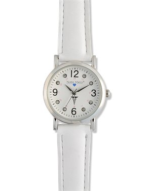 White Nurse Mates Caduceus Watch