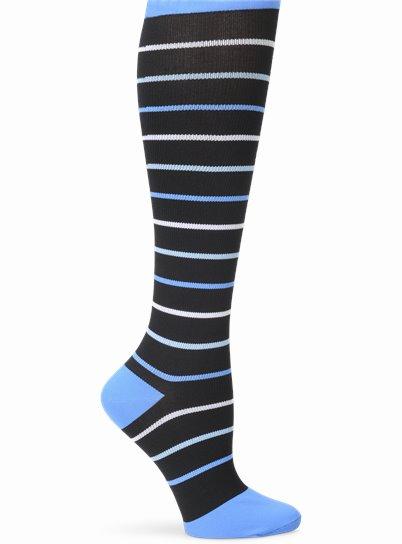 Wide Calf Compression accessories shown in blue Stripe