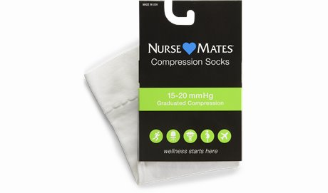 Medical Compression Socks shown in White