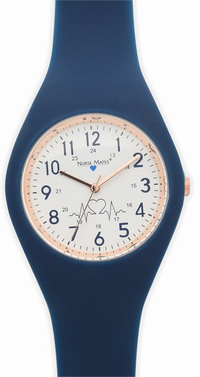 Uni-Watch accessories shown in navy & rose gold