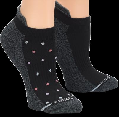 Nursemates 2-Pack Compression Anklets - Black Dot