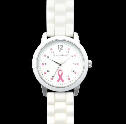 Nursemates Pink Ribbon Watch - pink ribbon sparkle