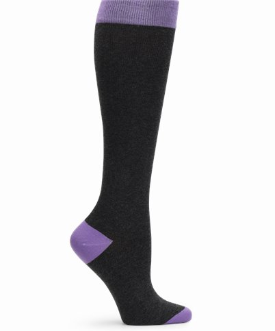 Cashmere Compression accessories shown in Charcoal & Purple