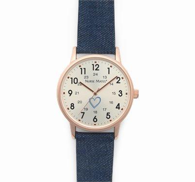 Day Watch accessories shown in Rose Gold & Denim