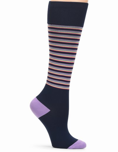 Medical Grade Compression accessories shown in Navy Stripe