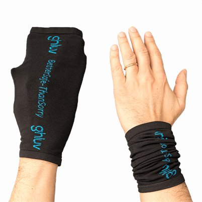 GHLUV Anti Microbial Glove 2 Pair Apparel shown in BLACK