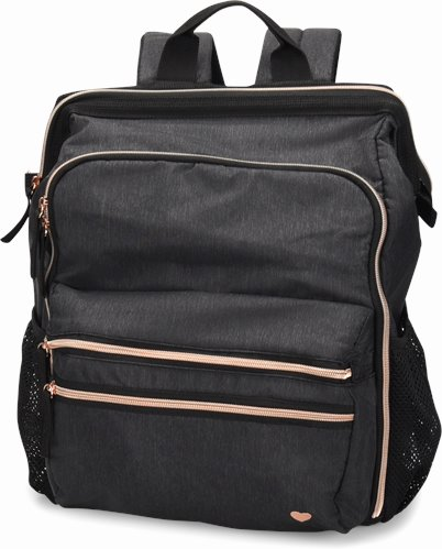 Ultimate Nursing Backpack accessories shown in Charcoal Linen & Rose Gold