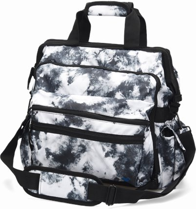 Ultimate Nursing Bag accessories shown in Black and White Tie Dye