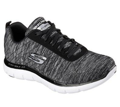 White Black Skechers Flex Appeal 2.0