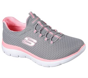 Pink Gray Skechers Summits