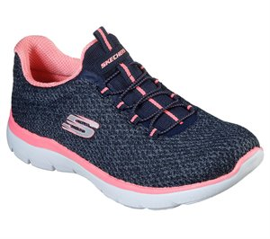 Pink Navy Skechers Summits - Striding
