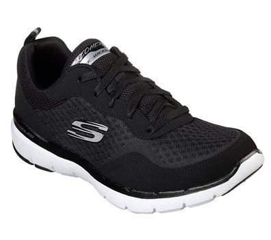White Black Skechers Flex Appeal 3.0 - Go Forward - FINAL SALE