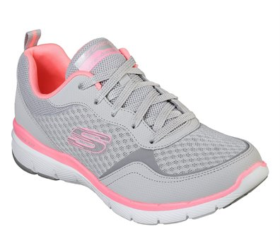 Pink Gray Skechers Flex Appeal 3.0 - Go Forward
