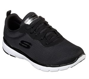 White Black Skechers Flex Appeal 3.0 - First Insight