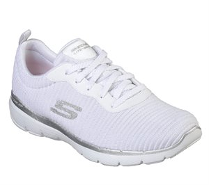Silver White Skechers Flex Appeal 3.0 - Endless Glamour