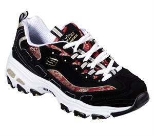 Red Black Skechers D'Lites - Orient Night