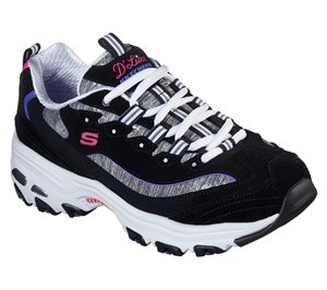 Purple Black Skechers D'Lites - Sparkling Rain