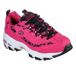 Black Pink Skechers D'Lites - Fancy Leopard