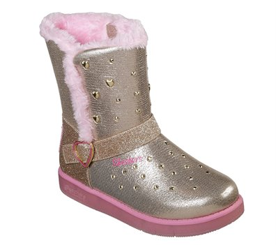 Pink Gold Skechers Twinkle Toes: Glitzy Glam - Sparkle Hearts