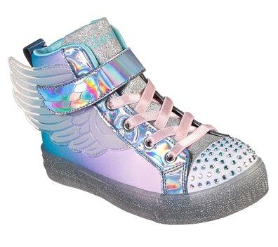 Multi Silver Skechers Twinkle Toes: Shuffle Brights - Sparkle Wings