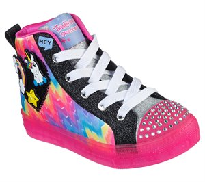 Multi Black Skechers Twinkle Toes: Shuffle Brights - Mix N' Patch
