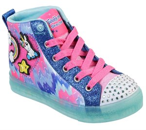Multi Blue Skechers Twinkle Toes: Shuffle Brights - Mix N' Patch