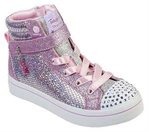 Silver Pink Skechers Twinkle Toes: Twi-Lites - Holla-Glam