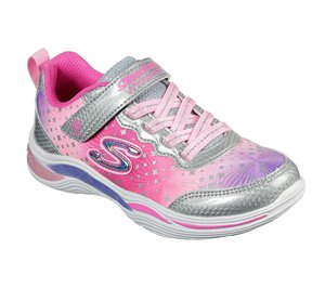 Pink Silver Skechers S Lights: Power Petals - Painted Daisy - FINAL SALE
