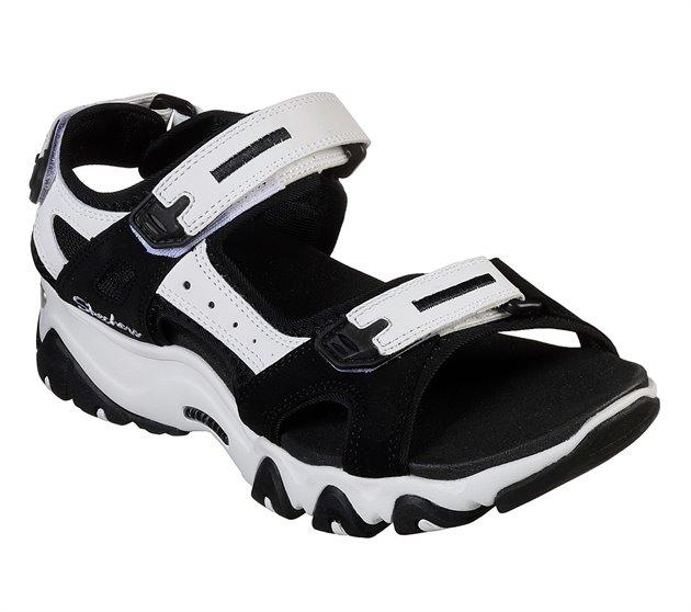 cirujano Interminable intermitente  Skechers D'Lites 2.0 - Kilowatt in White Black - Skechers Womens Sandals on  Shoeline.com