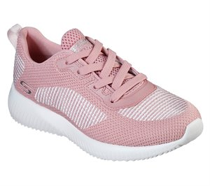 White Pink Skechers BOBS Sport Squad - Turn Up