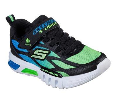 Green Black Skechers S Lights: Flex-Glow - Dezlo - FINAL SALE