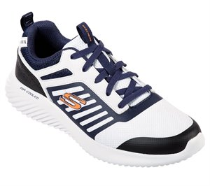 Navy White Skechers Bounder - Skonshy