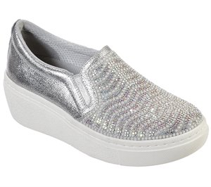 Silver Skechers Goldie Hi - Diamond Waves