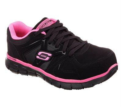 PinkBlack Skechers Work: Synergy - Sandlot Alloy Toe