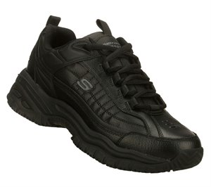 Black Skechers Lace Up Slip Resistant