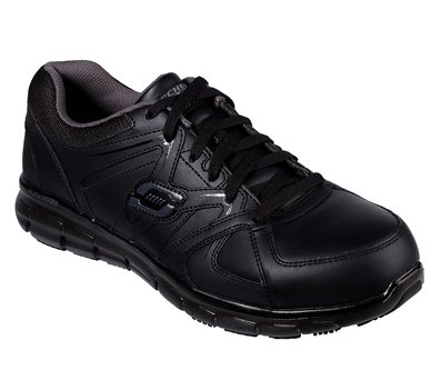 Gray Black Skechers Work Relaxed Fit: Synergy - Ekron Alloy Toe