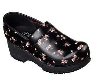 Pink Black Skechers Work: Clog SR