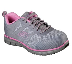 Pink Gray Skechers Work: Sure Track - Saquenay Alloy Toe