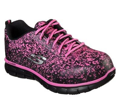 Pink Black Skechers Work: Sure Track - Flinser Alloy Toe