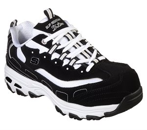 White Black Skechers Work Relaxed Fit: D'Lites SR - Lankoe Alloy Toe