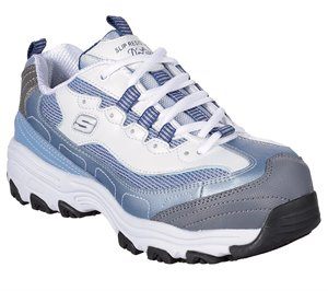 White Blue Skechers Work Relaxed Fit: D'Lites SR - Lankoe Alloy Toe