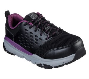 Purple Black Skechers Work: Soven Alloy Toe