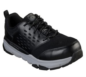 Gray Black Skechers Work: Soven Alloy Toe